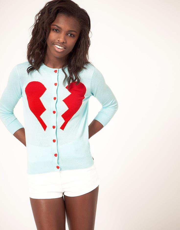 broken heart cardigan. WHY don't i own this?!: Clothing Shops, Heart Cardigans, Diy Clothing Accessories, Buttons, Asos Cardigans, Baskets, Asos Broken, Broken Heart, Felt Heart