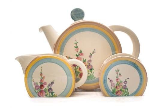 I wish a company would bring back tea set styles like this!   Clarice Cliff 'Hollyhocks' Bonjour Teapot, Creamer & Sugar Jug, 1936/37