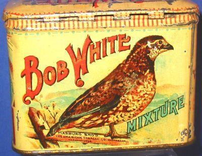Vintage Bob White Tobacco Tin Quail Cigarette Pipe Can