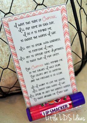 Little LDS Ideas: {Young Women} Chapstick Handout  (Choose kind words) Cute poem and handout idea