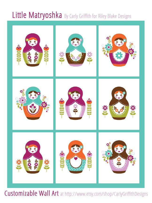 Carly Griffith Little Matryoshka coordinating Wall Art