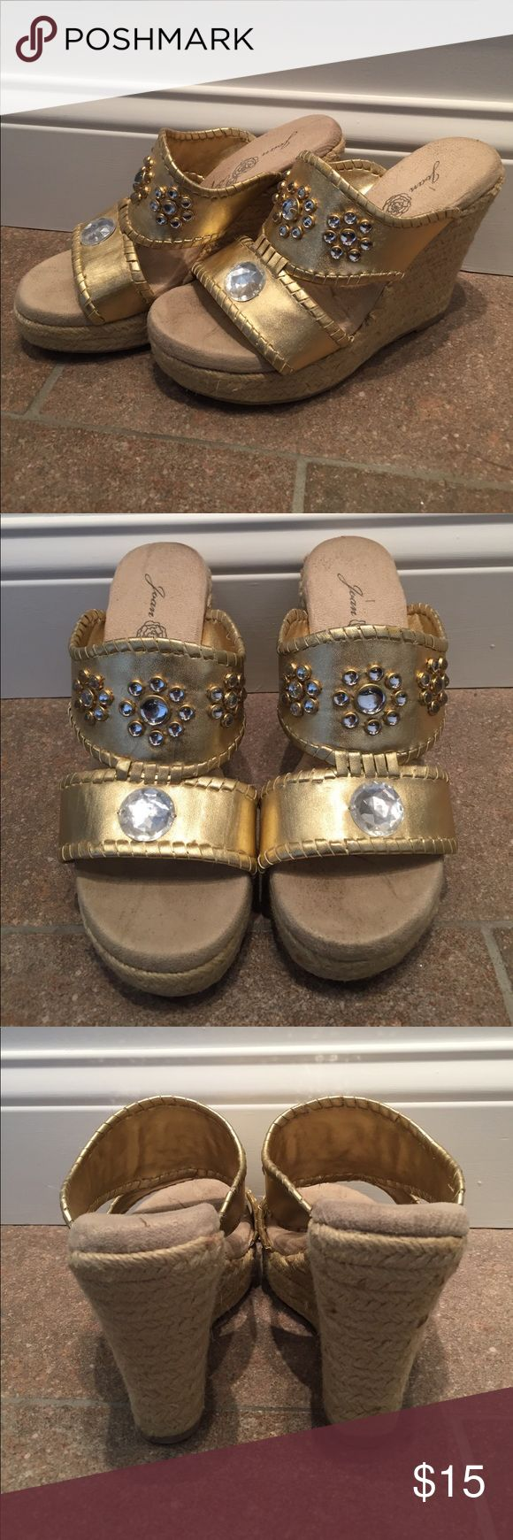 Bejeweled Gold Espadrilles Gold bejeweled espadrilles slides. Never worn, have a few stains from sitting in storage. Easily cleaned. From HSN, Joan Boyce. Make an offer! :-) Shoes Espadrilles