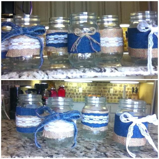 Mason jar/ burlap/ lace/ denim