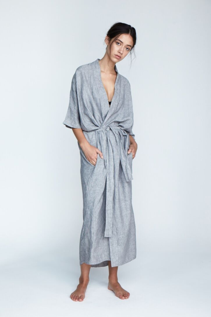 The 'Evie' Robe in Fog - Andrea & Joen French Linen Loungewear Collection shot by Sylve Colless
