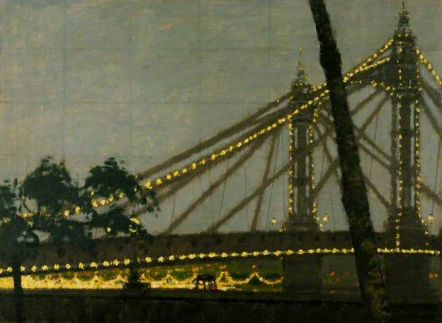 Albert Bridge. Chelsea, London. by William Brooker   : 1953