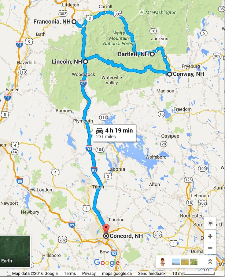 Road Trip Planner White Mountains Map More