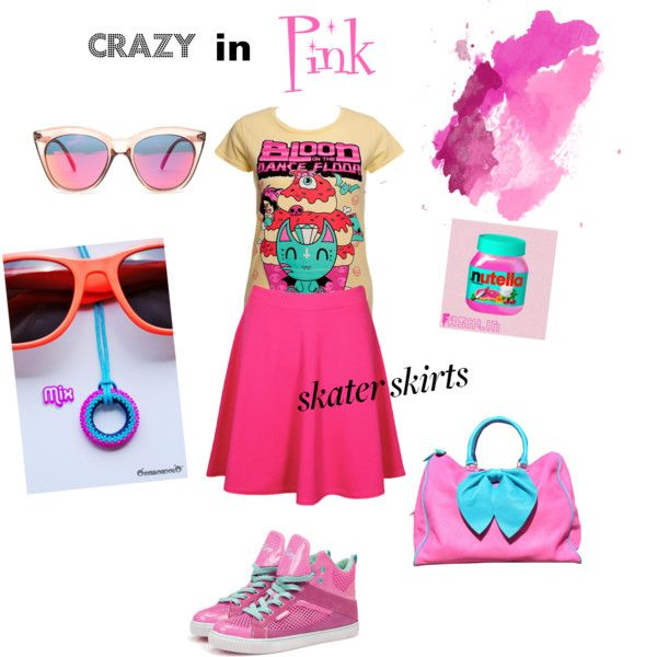 """Occhiondolo's """"Crazy in pink"""" #outfit for the """"How Do You Style Skater Skirts?"""" #Polyvore contest http://www.polyvore.com/how_do_you_style_skater/set?id=87374546"""
