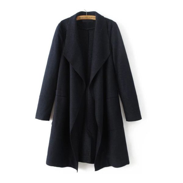 SheIn(sheinside) Black Waterfall Collar Wool Blend Coat ($48) ❤ liked on Polyvore featuring outerwear, coats, black, shein, wool blend coat, long wool blend coat, waterfall coat, long sleeve coat and leather-sleeve coats