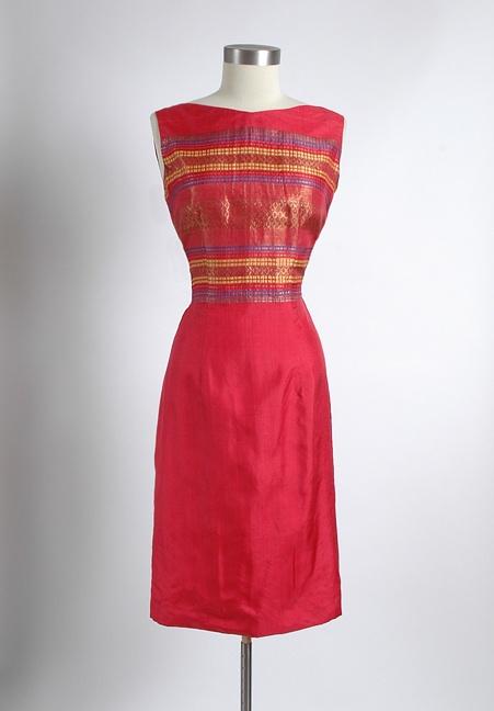 HEMLOCK VINTAGE CLOTHING : 1960's Red Silk Sari Fabric Cocktail Dress