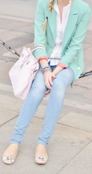 pretty colorsBlondes Salad, Blazers Mint, Blazers Colors, Mint Green, Inspiration Outfit, As Blazers, Cute Outfit, Fashion Finding, Green Outfit Mi