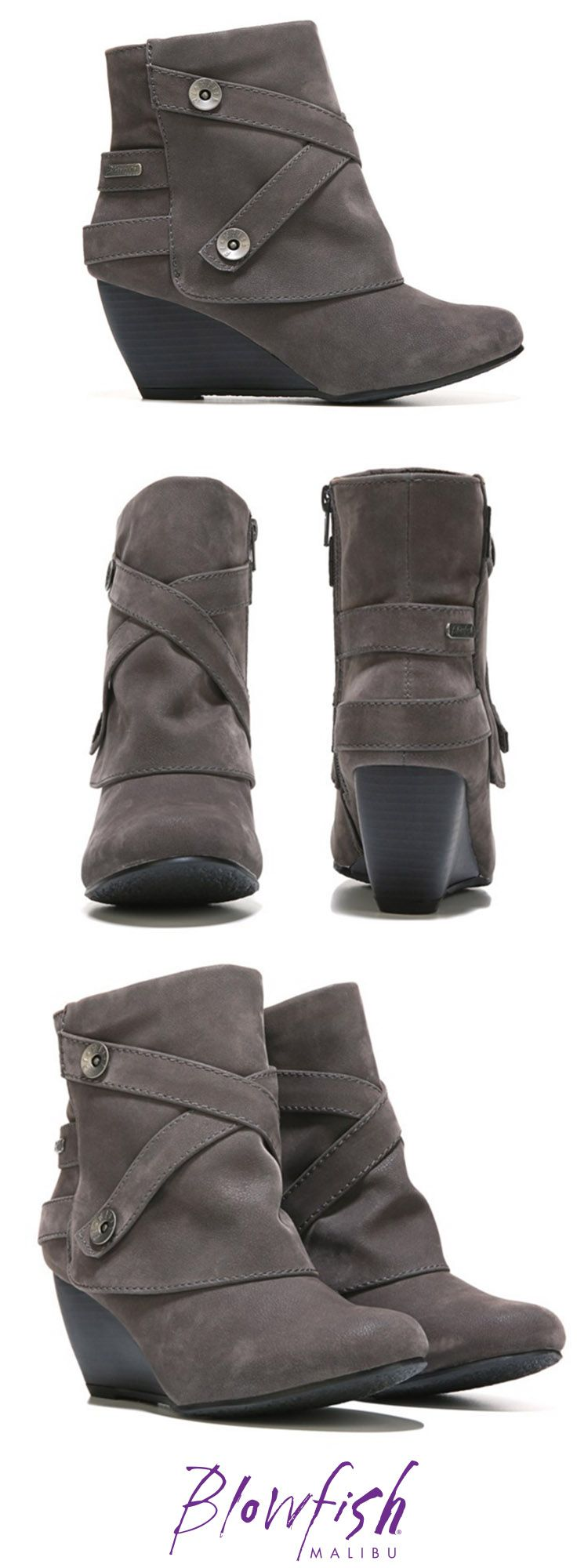 Now this is a Blowfish Shoes wedge you have to grab! The Batone wedge bootie is all things edgy and fabulous! Two criss-cross button straps decorate the shaft of this bootie for extra detail. The Blowfish Batone has a heel height of about 2 inches.
