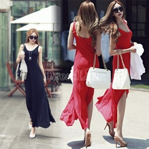 $6.64 New Women Sexy Backless Sleeveless Double Open Fork Long Dress Dresses 2Colors