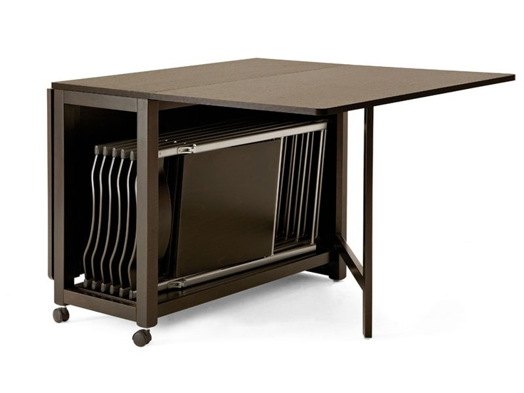 Unique Folding Dining Table for Parties Glossy Brown