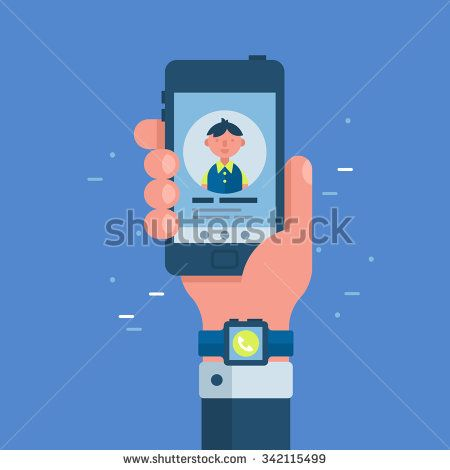 Businessman hand with smart watch holding smart phone. Network and communication technology concept. Flat modern vector illustration