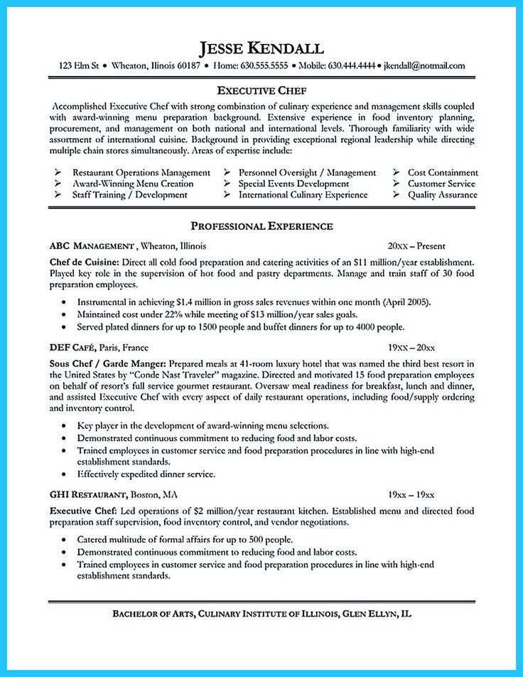 awesome Excellent Culinary Resume Samples to Help You Approved,