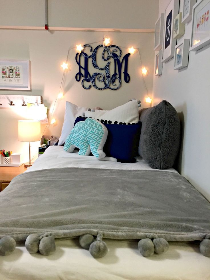 Cute blue dorm room.