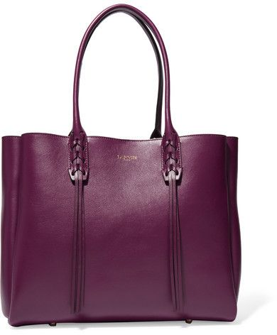 Lanvin - The Shopper Small Leather Tote - Grape