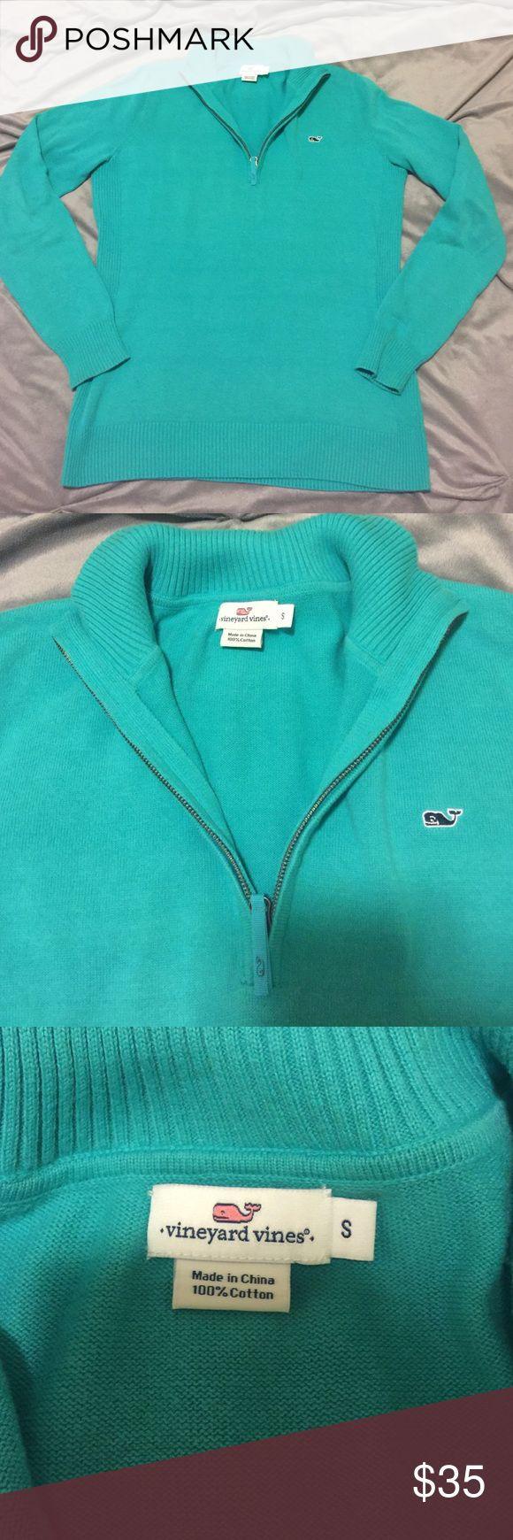 🎉Vineyard Vines pullover🎉 Super cute teal vineyard vines pullover in great condition. Pre-loved. Very little signs of wear. There is a tiny hole on the cuff of the right sleeve please look at the last picture for reference. I am pricing this item well to sell quickly! Vineyard Vines Sweaters
