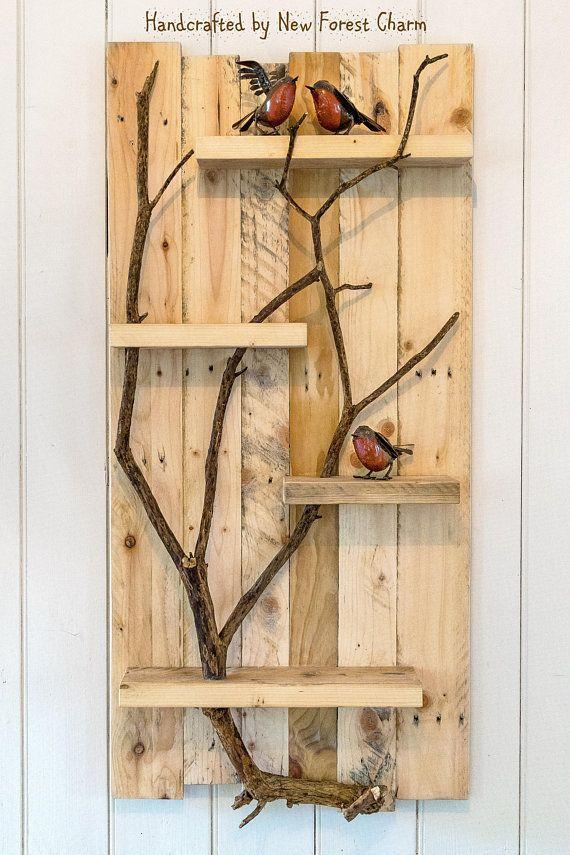 Rustic Home Decor Large Wall Art Reclaimed Wood Pallet Shelf   Diy ...