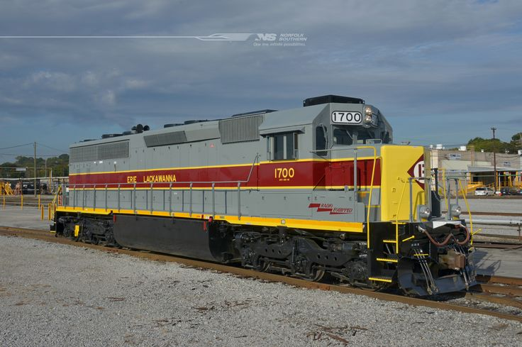 "Here's another shot of the Norfolk Southern SD45-2 number 1700 as she poses outside the paint shop at DeButts Yard in Chattanooga, Tennessee, wearing its new, ""old"" paint scheme. The first of a thirteen unit order, 1700 was originally built as Erie Lackawanna number 3669, completed in October 1972. It will return to revenue service, joining the fleet of five additional 1700-series locomotives presently assigned to the Conrail Shared Assets region, based out of Oak Island, New Jersey."