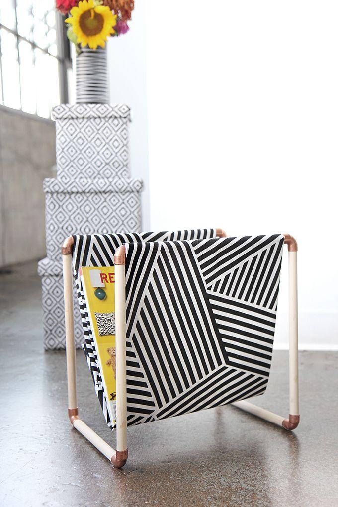 » MY DIY | Cotton Fabric, Copper & Wood Magazine Holder