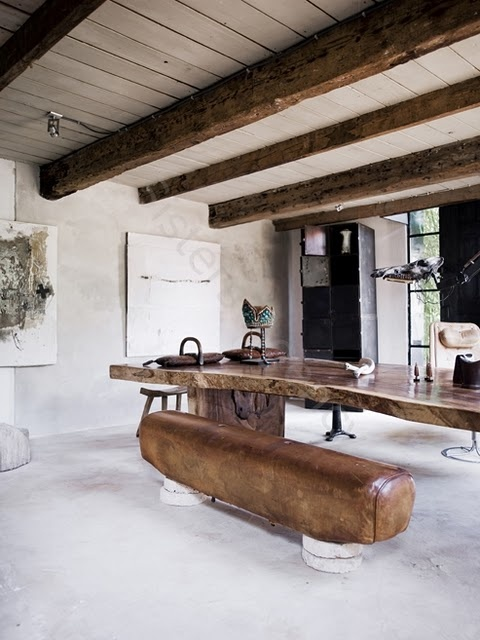this looks gorgeous in a big room, old sport-equipment- bars, reused as a sitting bench