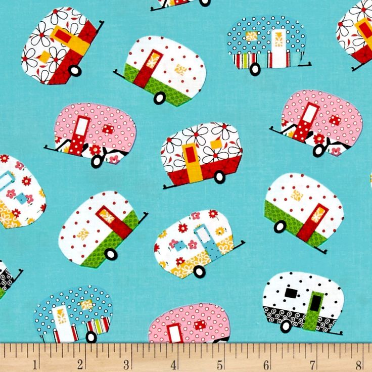 Quilt Camp Camper Allover Turquoise Fabric By The Yard