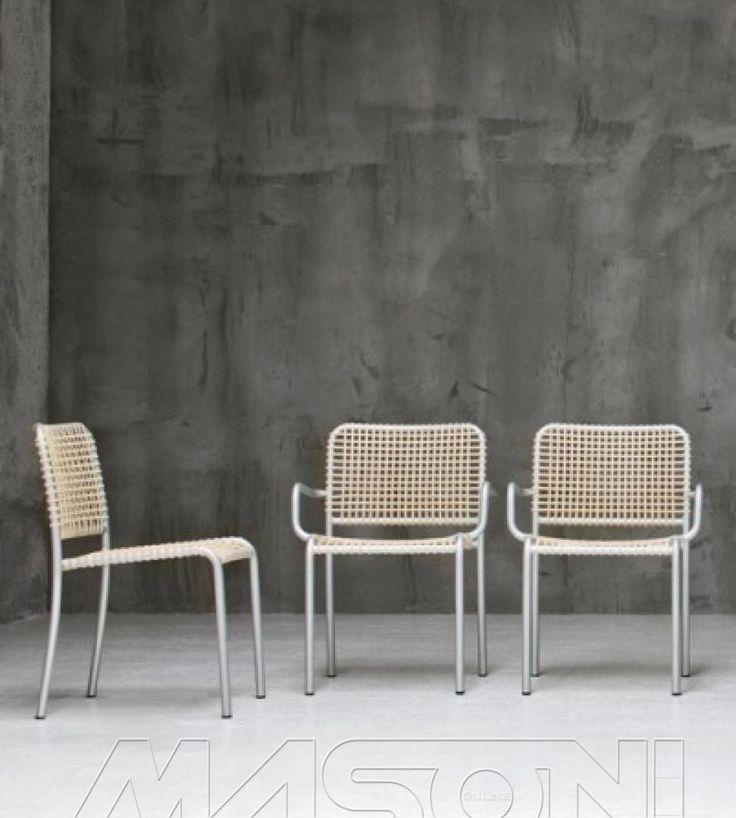ALLU Sedia e poltroncina in alluminio e pergamena intrecciata collezione Allu di Gervasoni. Seduta disponibile in due colorazioni diverse. http://www.masonionline.it/interno/sedie-sgabelli/allu