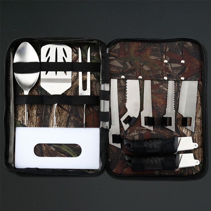 37.35$  Buy here  - High quality outdoor  BBQ set fish knife 8 pcs Outdoor Tools Set with camo nylon bag for simple assembling Free shipping
