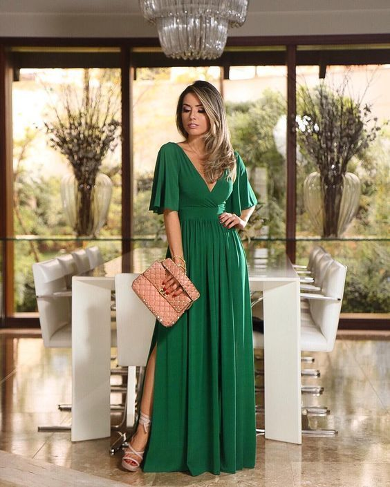 2019 green long prom dress with slit