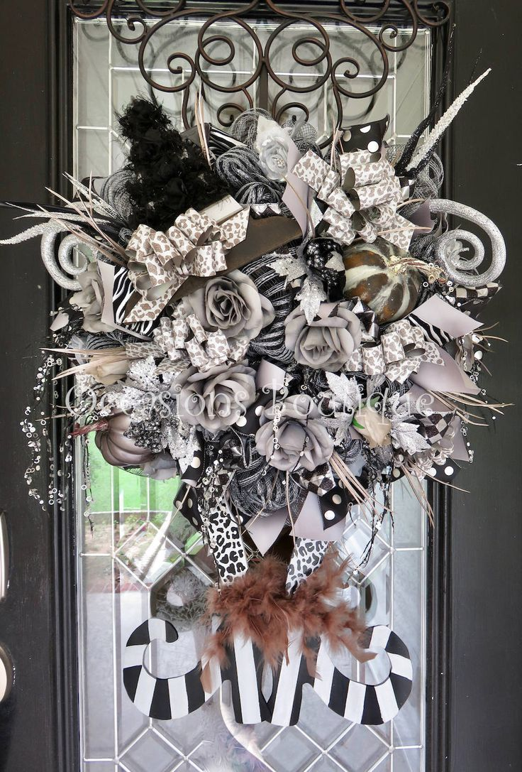 Halloween Wreath, Fall Wreath, Black and Silver Wreath, Halloween Party Decoration, Front door Wreath, Door Hanger, Witch Wreath by OccasionsBoutique on Etsy