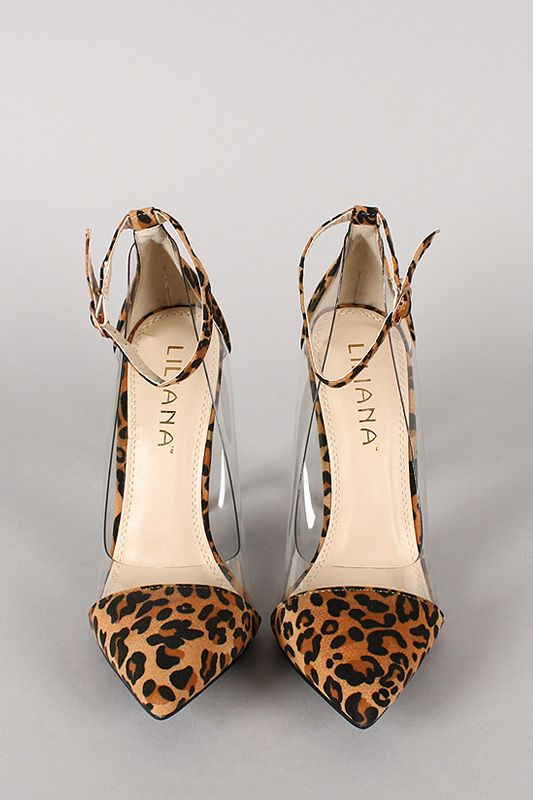 Make your look flawless this attractive pump! Featuring pointy toe, leopard print faux suede upper with lucite side panels, and stiletto heel. Finished with lightly padded insole and adjustable ankle strap with buckle closure.