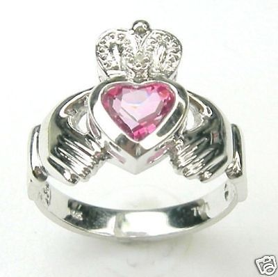 DIAMOND CLADDAGH RING WITH CR MYSTIC PINK 14K GOLD (or other gemstones choices) #Claddagh