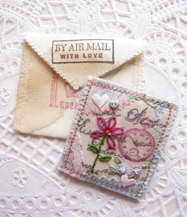 Vintage Postcard Style Embroidered Brooch