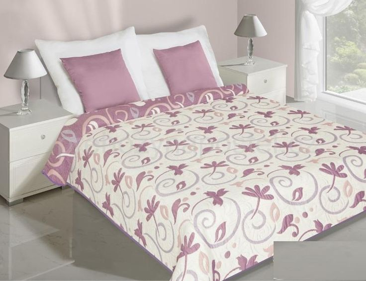 Květiny přehozy na postel fialovo krémové barvy