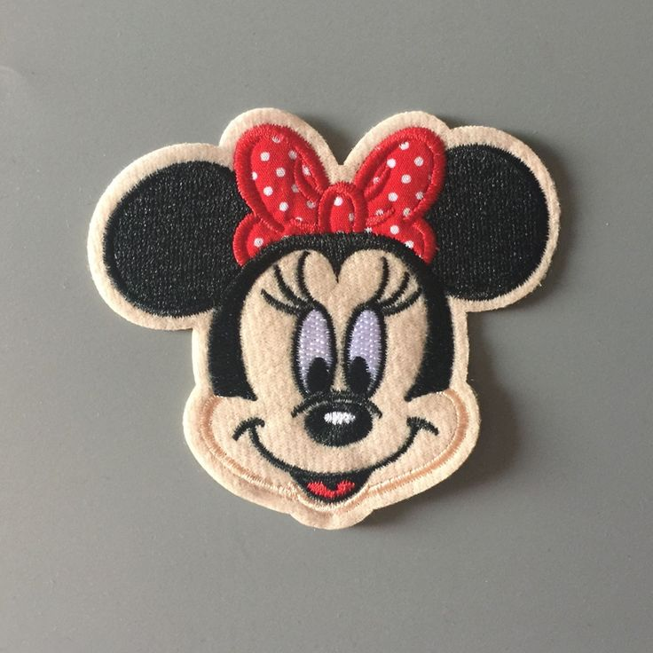 10Pcs/Lot Red Butterfly Minnie Mickey Iron On Embroidered Patches For Clothes Cartoon Badge Garment Appliques DIY Accessory