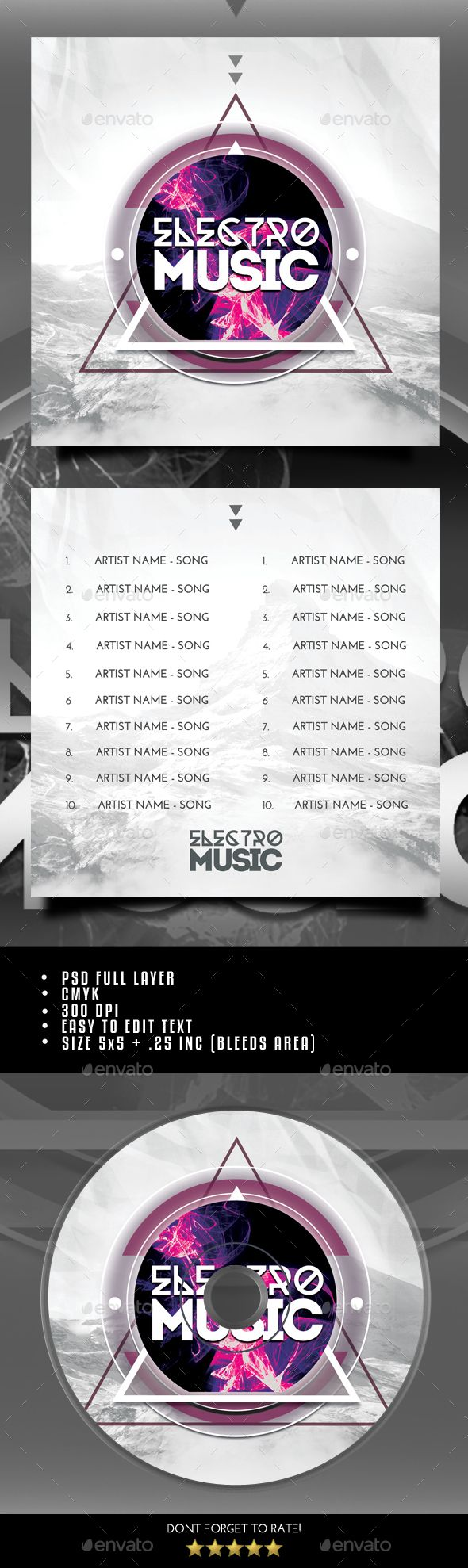 Electro Music CD Cover Template PSD