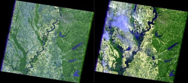 Left: This is a Landsat 5 image of the Mississippi River in the Memphis, Tenn., area on May 12, 2006. Right: This is a Landsat 5 image of the Mississippi River in the Memphis, Tenn., area on May 10, 2011.