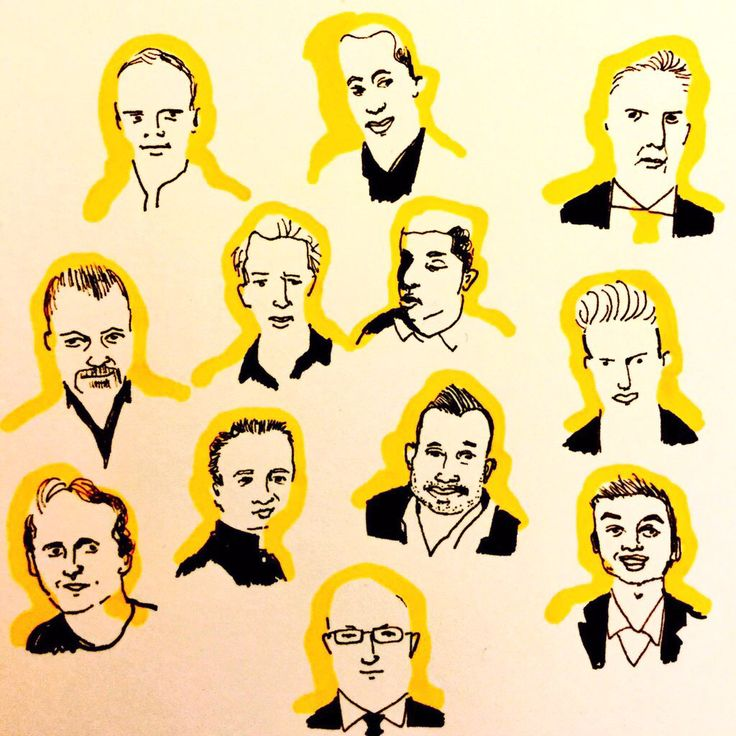 Portraits in black and yellow by Marie Åhfeldt, Mås Illustra. www.masillustra.se #masillustra #illustration #man #portrait #yellow