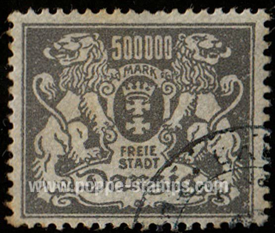Danzig, Sc , SG 135 Used, Hinged - 1923 500000m. - Heral... - bidStart (item 46331914 in Stamps... Danzig)