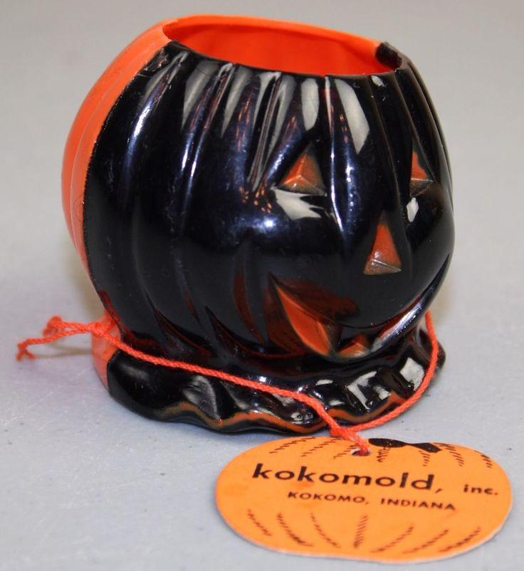 vintage rosbro plastic halloween jol pumpkin candy container kokomold hang tag - Large Plastic Pumpkins