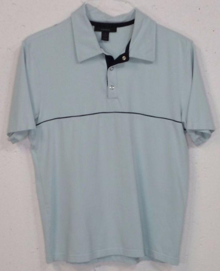 Express Modern Fit Mens Light Baby Blue Stretch Short Sleeve Polo Shirt Medium M #Express #PoloRugby