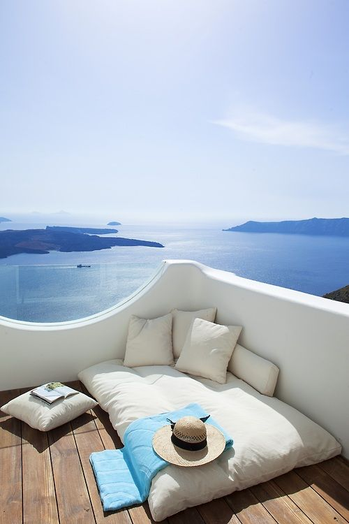 Imagine napping or reading here.....Santorini,Greece