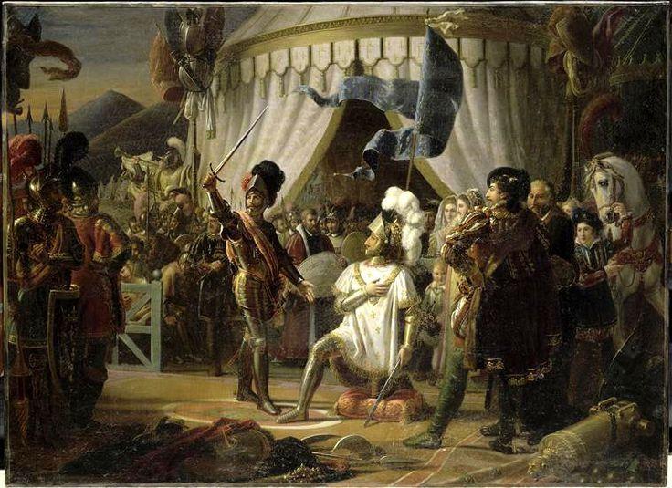 Jean Louis Ducis. Chevalier de Bayard knights Francis 1. after the Battle of Marignan.