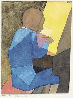 """Paul Klee ' Knabe am Pult' (Boy at the Teacher's Desk) 1915 Watercolor over pencil on paper laid on board 7.4 x 5.6"""""""