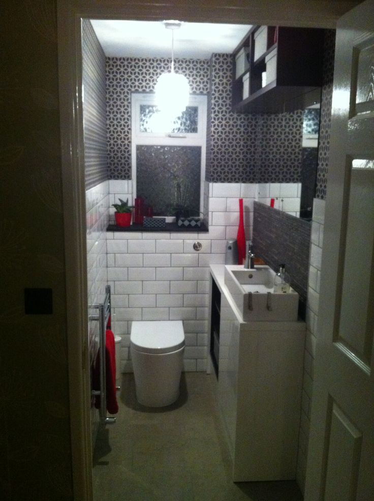 Finally finished our cloakroom wc renovation contemporary bathroom white wall tiles vanity - Ikea bathroom tiles ...