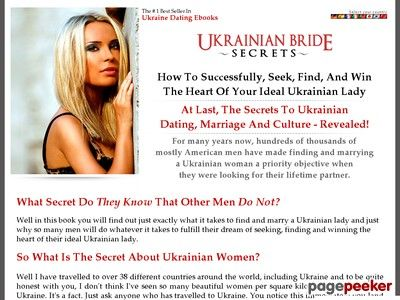 UKRAINIAN BRIDE SECRETS – best selling ebook on ukrainian brides, ukrainian dating, ukrainian women for marriage, ukrainian ladies, women for marriage, looking for marriage    http://www.ukrainianbridesecrets.com/ review  So You Want To Marry A Ukrainian Lady – A Foreigners Guide To...