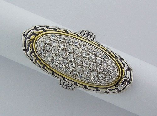 Pave Oval Silver Ring