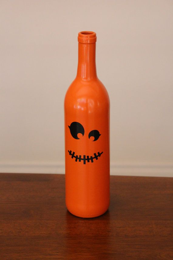 Pumpkin Wine Bottles, Halloween Wine Bottles, Halloween Decorations, Trick or Treat, Double Sided Wine Bottles, Up-cycled