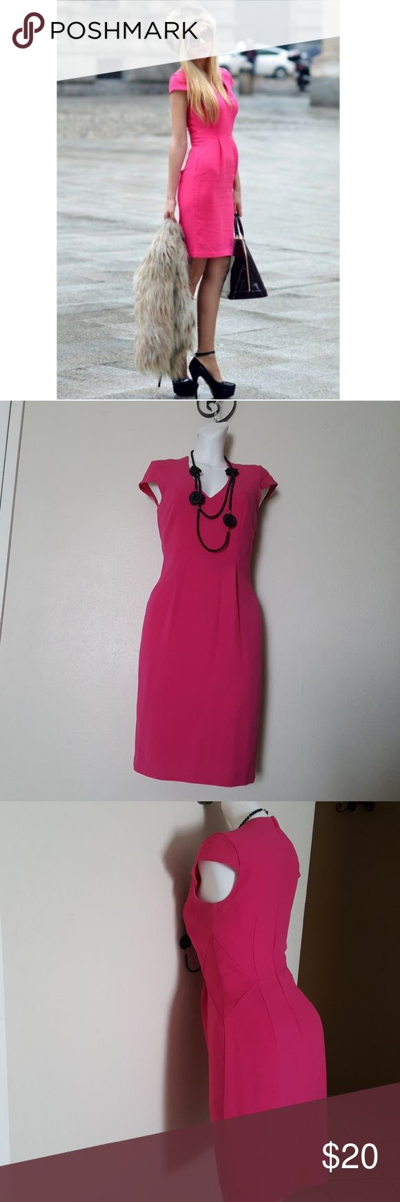 H&M Pink Dress. Super Pretty on pink! Lined US.4 Approximate size: Bust=33inch Width in the ribs=29inch Long=37inch  New with out tag.  I am size 4 and this dress is very tight on me so I will say that it is true size 4 petite, or good size 2. Available in color green too. ;) H&M Dresses Midi